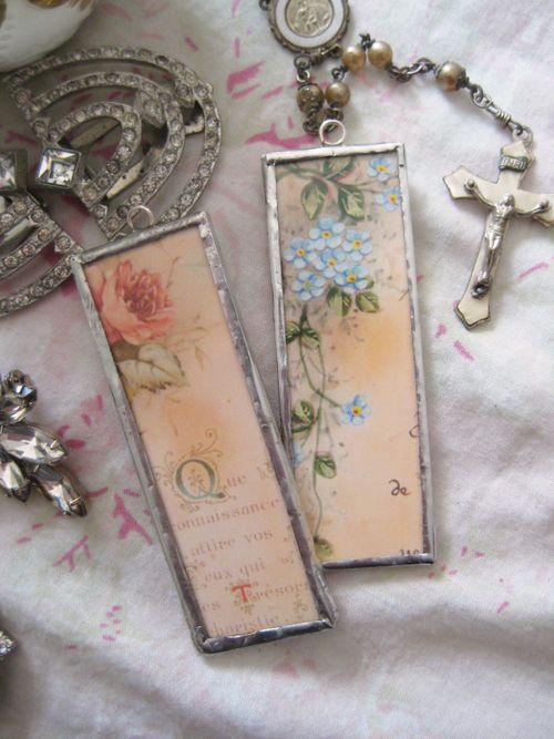 Holy card charms by Heather Kowalski